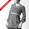 Long jersey sweater with empire waist and puffly sleeves - CUSTOM HANDMADE