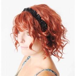 Black headband in gathered ruffles