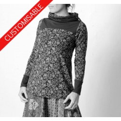 Long sleeved Jersey top with wide turtle neck - CUSTOM HANDMADE