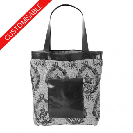 Fabric and leather tote bag - CUSTOM HANDMADE