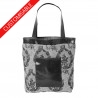Fabric and leather tote bag - CUSTOM HANDMADE