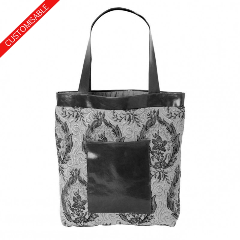 fabric and leather tote bag handmade in france. Black Bedroom Furniture Sets. Home Design Ideas