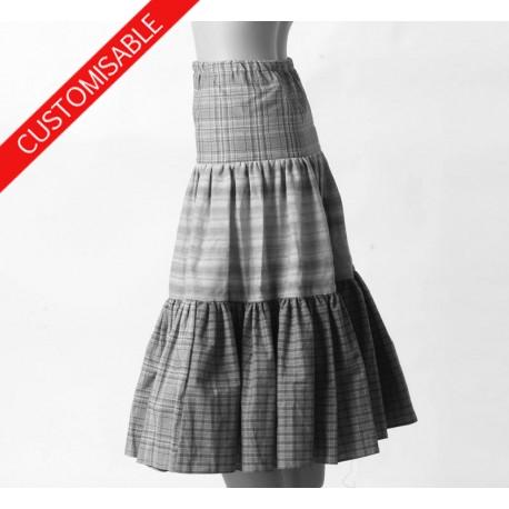 Long tiered bohemian skirt in assorted fabrics - CUSTOM HANDMADE