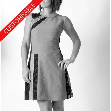 Robe courte sans manches, unie ou empiècements patchwork - PERSONNALISABLE