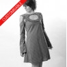 Flared dress with ruffled neckline and removable sleeves - CUSTOM HANDMADE