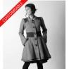 Manteau long évasé à petit col et empiècements - PERSONNALISABLE