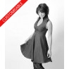 Flared dress with V neckline and high collar - CUSTOM HANDMADE