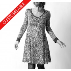 Robe courte évasée en jersey - PERSONNALISABLE
