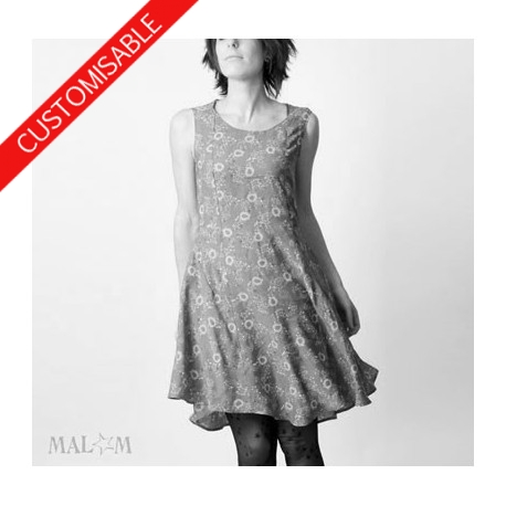 Flared dress with mesh or lace back - CUSTOM HANDMADE