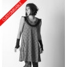 Flared dress, with assorted fabrics neckline and tiny sleeves - CUSTOM HANDMADE