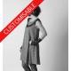 Robe évasée à manches courtes, encolure plastron de tissus assortis - PERSONNALISABLE