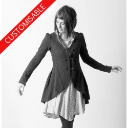 Long swallowtail jacket, pleated back - CUSTOM HANDMADE