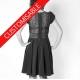 Flared dress with V neckline and high collar - CUSTOM HANDMADE