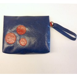 Blue varnished leather pouch, red circles