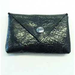 Porte-carte ou porte-monnaie en cuir noir vernis