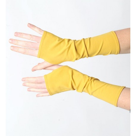 Mustard yellow mens or womens long jersey armwarmers