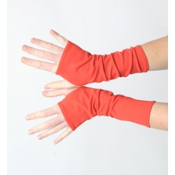 Bright red mens or womens long jersey armwarmers, Red fingerless gloves