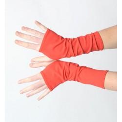 Mitaines rouge vif longues femme ou homme - jersey coton rouge