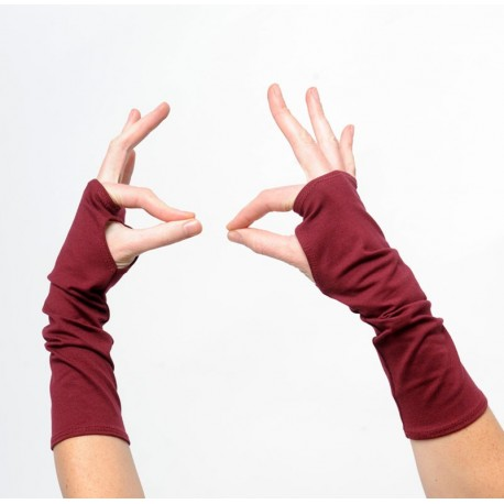 Mitaines rouge bordeaux longues femme ou homme - jersey coton bordeaux idée cadeau pour femme