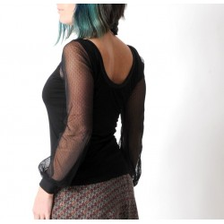 Black womens fitted top with dotted mesh patterned long sleeves