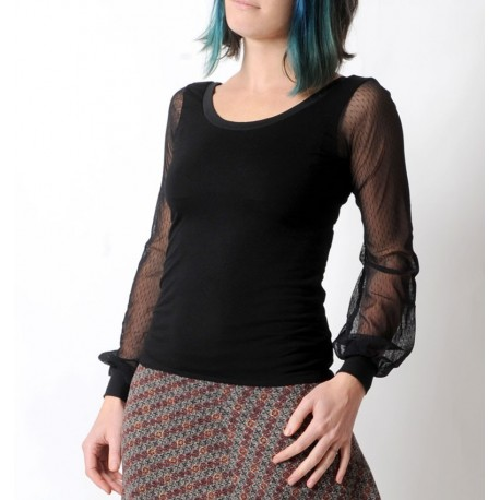 Top noir ajusté et manches longues bouffantes résille plumetis boutique en ligne de vêtements originaux