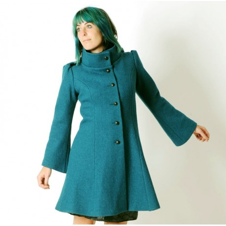 Teal blue winter Pixie coat with Goblin Hood in virgin wool
