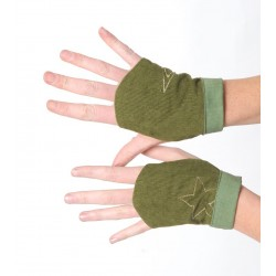 Green babycord women's fingerless gauntlets