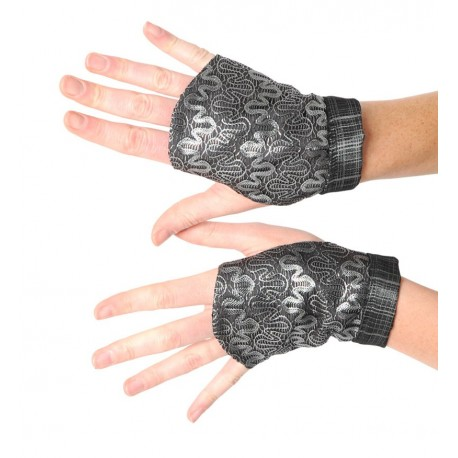 Silvery lace fingerless gauntlets