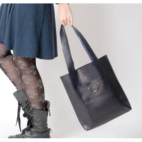 Dark blue leather shopping tote bag, with two pockets