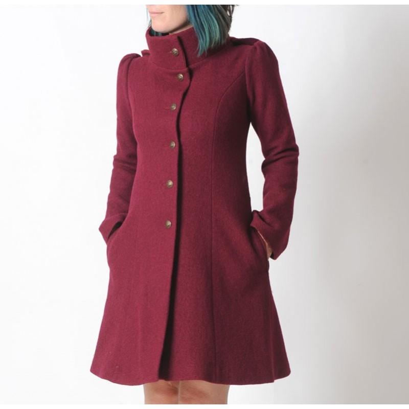 b4da8c778c12 Manteau femme chaud d hiver Capuche de Lutin en laine rouge bordeaux