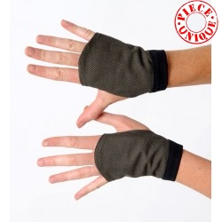 Black and khaki tweed fingerless gauntlets