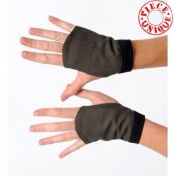 Gantelets mitaines en tissu tweed kaki et noir