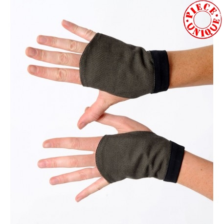 Black and khaki tweed fingerless gauntlets