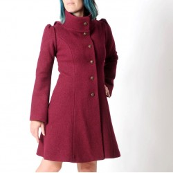 Crimson red warm winter Pixie coat with Goblin Hood in virgin wool