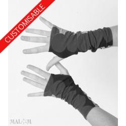 Long stretchy fingerless gloves - CUSTOM HANDMADE