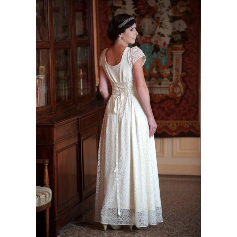Long white lace wedding dress with back lace up and short for Short white lace long sleeve wedding dress