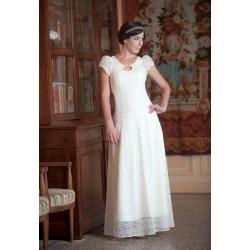 Robe de mariée longue en dentelle blanche, à manches courtes