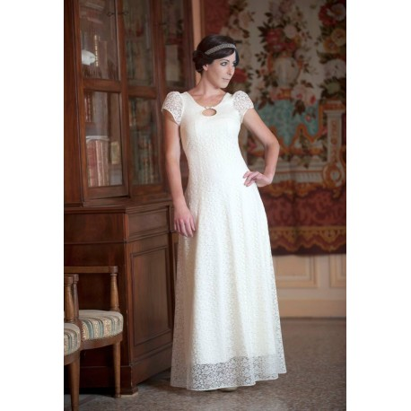 Long white lace wedding dress with back lace-up and short sleeves