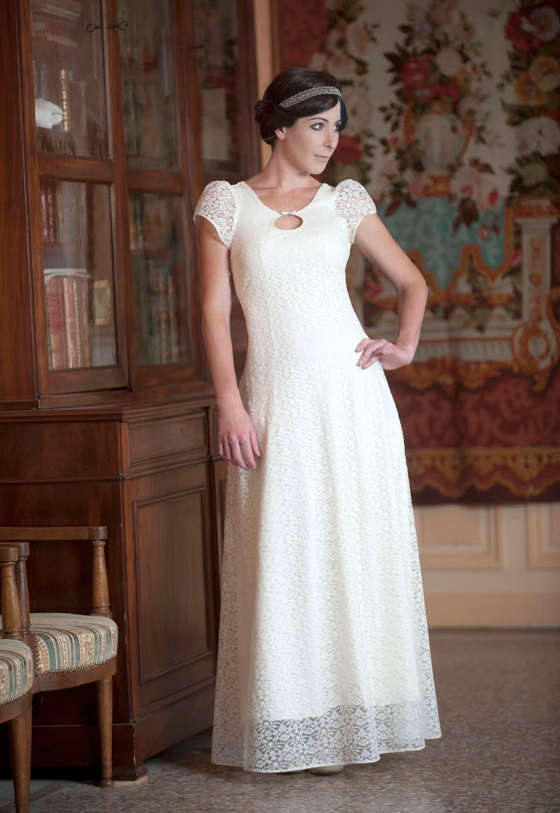 long white lace wedding dress with back laceup and short