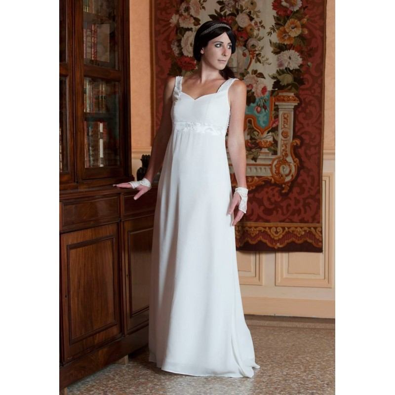 robe de mari e longue blanche d collet e dos et taille empire. Black Bedroom Furniture Sets. Home Design Ideas