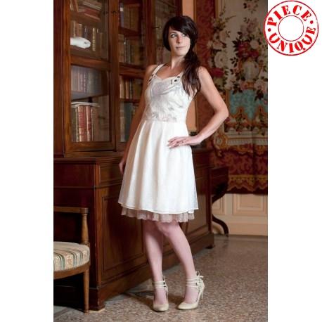 Robe à bretelles beige et blanche - imprimé oiseaux, résille plumetis mariage, cokctails, élégante