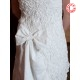 Short white wedding dress, strapless dress with big bow at the back,