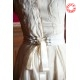 Freeform, off-white wedding dress with large silk bow