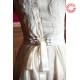 Robe de mariée originale, asymétrique, ivoire et noeud soie