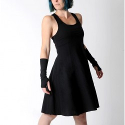 Black flared jersey dress with crossed straps