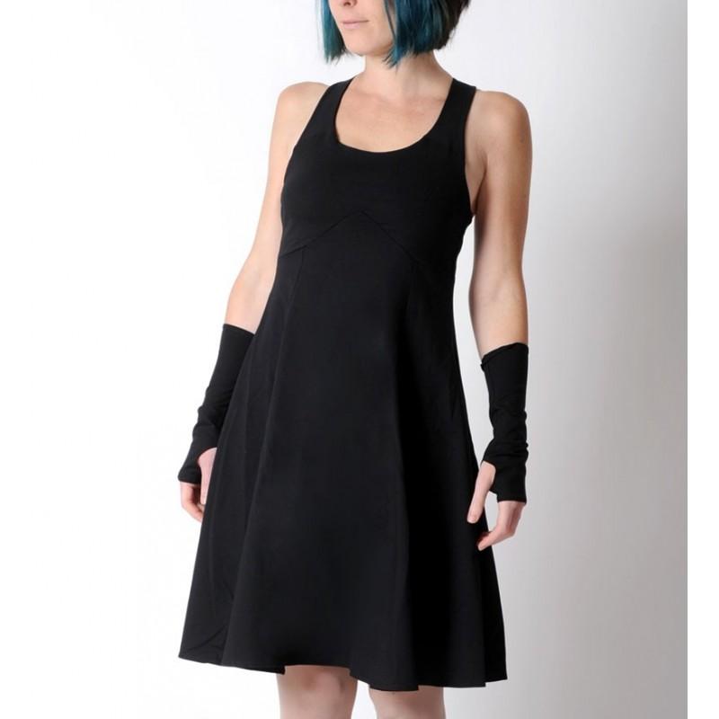 robe femme noire en jersey de coton bretelles crois es dans le dos. Black Bedroom Furniture Sets. Home Design Ideas
