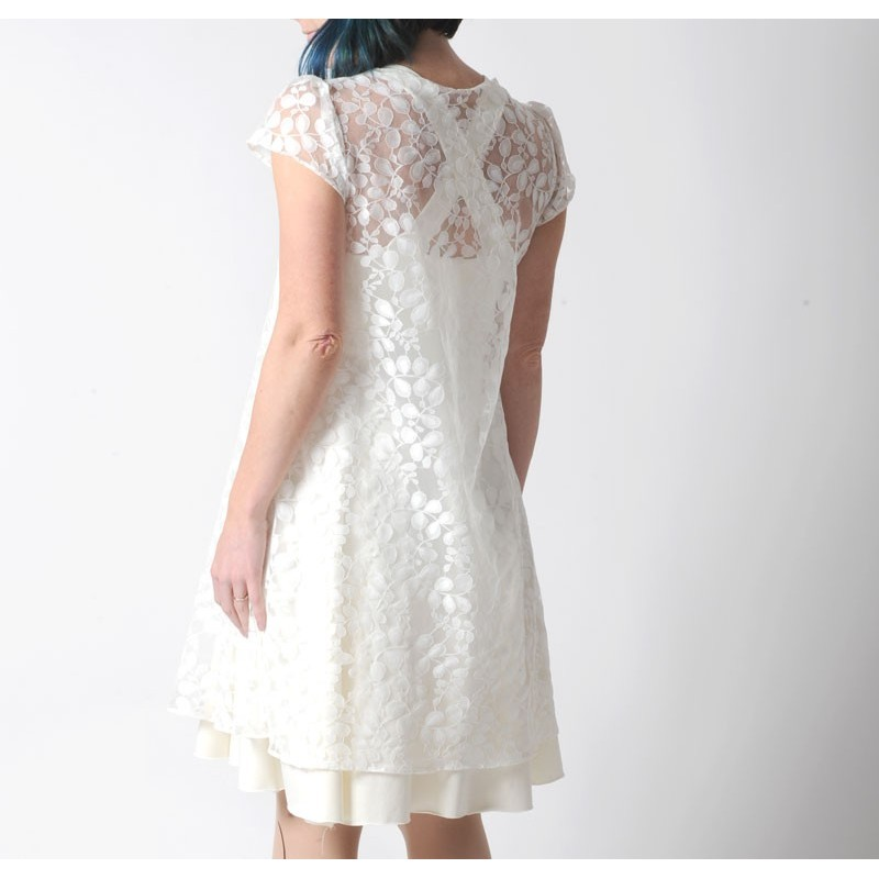 ... Sheer white lace tent dress for layering short sleeves ... & Sheer white lace wedding dress for layering short sleeves