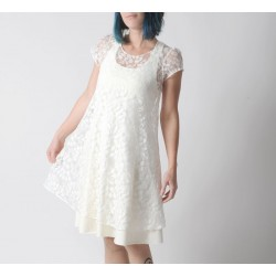 Sheer white lace dress for layering, short sleeves