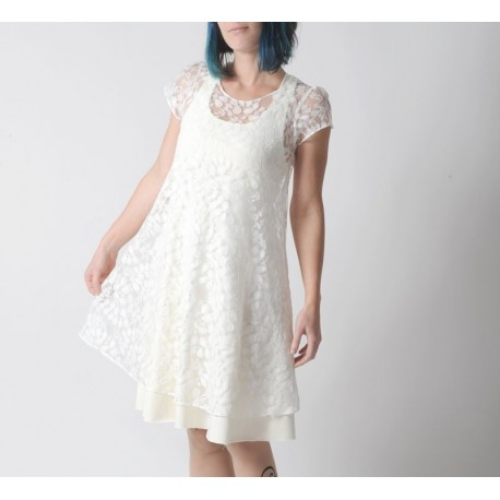 Sheer white lace tent dress for layering, short sleeves
