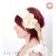 Wide cream silk Headband with large flower